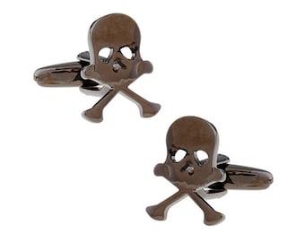 Skull and Bones Gunmetal Cufflinks Skull with Crossbones Cut Out Eyes Gruesome Look Halloween Walk the Seven Seas Pirate Fun Cuff Links