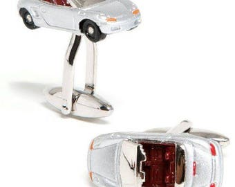 Silver Sports Car Convertible Cufflinks Cuff Links Car Race Racing Comes with Gift Box