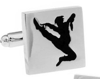 Silver with Black Enamel Karate Cufflinks Cool Fun Sports Martial Arts,Cuff Links Comes with Gift Box