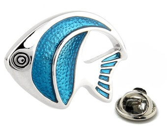Enamel Pin Tropical Angel Fish Lapel Pin Tie Tack Collector Pin Blue Enamel Fish 3D Design Very Cool for the Fish Lover Tie Tack