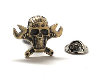 Enamel Pin Grease Monkey Skull & Cross Bones Lapel Pin Ghost Pilot Tie Tack Halloween Fun Boyfriend Gift