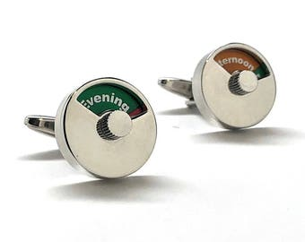 Time Dial Cufflinks Thick Heavy Silver Moving Adjustable calendar cufflinks Dial Time of Day Day Cufflinks Cool Fun Clever Cuff Links