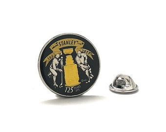 Birth Year Enamel Pin Gold Edition Stanley Cup Enamel Coin Collectors Lapel Pin Hockey Gifts Hand Painted Royal Canadian Mint Quarter