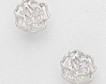 Earrings Silver Rose Beautiful Silver Petite Rose Stud Earrings Silk Road Collection Jewelry