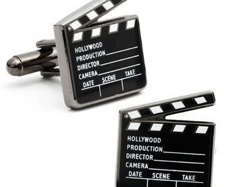 Movie Clapboard Cufflinks Silver Tone Classic Hollywood Motion Pictures Buff Film Industry Classic Cuff Links Comes with Gift Box