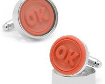 Working Rubber Stamp Cufflinks OK Stamp Real Stamp says OK Office Executive Cuff Links Comes with Stamp Pad and Gift Box