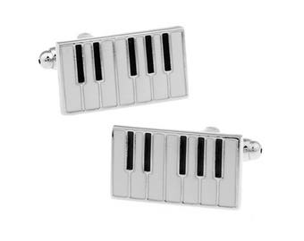 Piano Keys Music Cufflinks White and Black Enamel Keyboard Cuff Links Cool Concert Harmony Comes with Gift Box