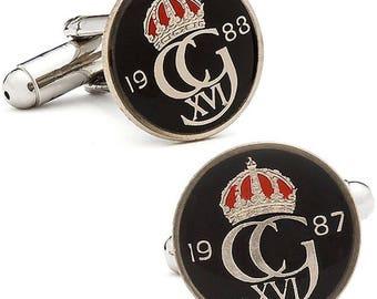 Enamel Cufflinks Hand Painted Swedish Enamel Coin Jewelry Black Enamel Royal Crown Coins Sweden Cuff Links Keepsake Very Cool Unique World