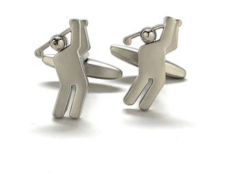 Brushed Cufflinks Silver Modern Man Golf Golfer Cuff Links Comes with Gift Box