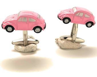 Pink Beetle Car Cufflinks Hot Pink Finish Collection Classic Bug Fun Cool Unique Cuff Links Comes with Gift Box