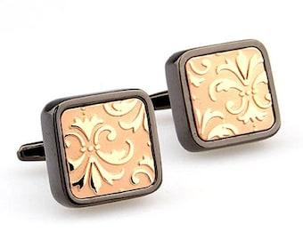 Heavy Thick Gunmetal Antique Gold Square Brushed Fleur di Lis Cufflinks Cuffs Links