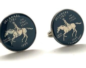 Birth Year Enamel Cufflinks Delaware Quarter Dark Blue Edition Flag State Enamel Coin Jewelry USA US United States Police Coin Cuff Links