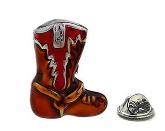 Western Cowboy Boot Lapel Pin, Red Enamel Pin