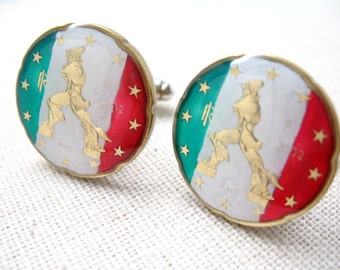 Enamel Cufflinks Italy Statue Flag Green Red White Premium Hand Painted Enamel Coin Jewelry Cuff Links Italian Cufflinks Comes with Gift Box