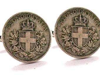 Old Italian Coin Cufflinks Italy Rare Lira from World War I Cuff Links Shield Cross Crown Unique Classic Fun Cufflinks Comes with Gift Box