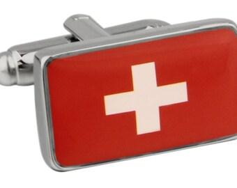 Men's Executive Cufflinks Shiny Silver Swiss Switzerland Flag White Red Cross Flag Cuff Links