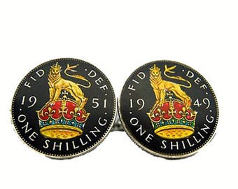 Enamel Cufflinks British Shilling Hand Painted Lion and Royal Crown Enamel Coin Jewelry Cuff Links World Travel Souvenir Rare Cool Vintage