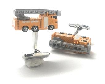 Construction Work Truck Cufflinks, Yellow