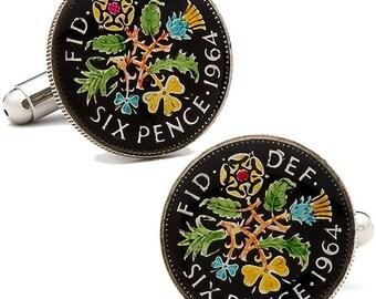 Enamel Cufflinks Hand Painted Coin British Enamel Coin Jewelry England English Cuff Links Pence Birmingham London Leeds Manchester Cool Rare
