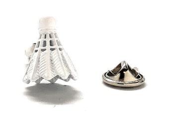 Badminton Shuttlecock Birdie Lapel Pin, White