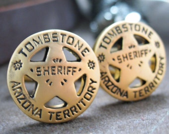 Tombstone Arizona Cufflinks Old West Gold Tone Territory Sheriff Lone Star Badge Cuff Links