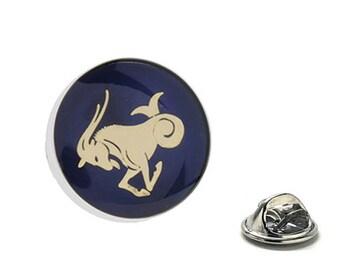Capricorn Zodiac Enamel Pin Astrology Gifts, Blue Lapel Pin