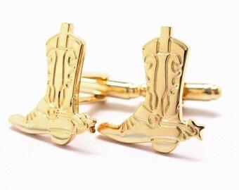 Cowboy Boots Cufflinks and Spurs Cufflinks Western Gold Cufflinks Cuff Links