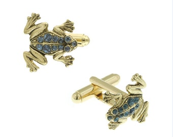 Jumping Frog Cufflinks Gold Tone Blue Crystal Cuff Links
