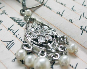 For My Darling Earrings Crystal and Pearl Chandelier Pearl Drop Silver Toned Earrings Silk Road Jewelry