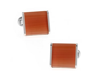 Orange Dash Wood Cufflinks Trim in Silver Tone Power Block Cuff Links Whale Tail Backing Comes with Box