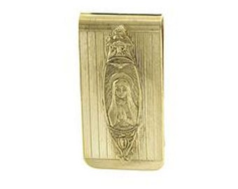 Gold Money Clip Mother Mary Praying Religious Gold Tone Men's Money Holder