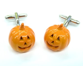 Halloween Cufflinks Pumpkin King Party Orange Enamel Cuff Links Comes with Gift Box