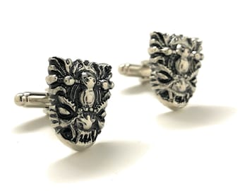 Tribal Yeti Mask Cufflinks Tibet Himalayan Nepal Folklore The Abominable Snowman Rustic Silver Tone Cuff Links Gifts for Him Myth Creature