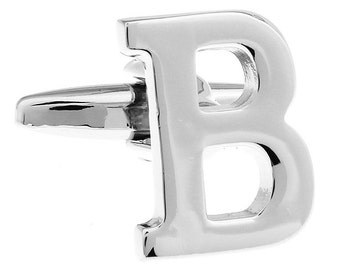 "Classic ""B"" Cufflinks Silver Tone Initial Alaphabet Cut Letters B Cuff Links Groom Father Bride Wedding Anniversary Father's Day Gift Box"