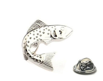 Silver Trout Fish lapel Pin, Fisherman Pin