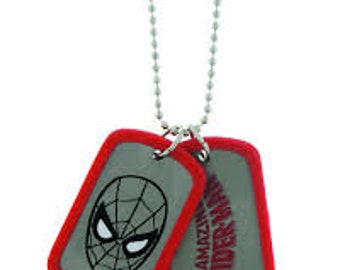 Dog Tag  Marvel Comics Spiderman Red Mask and Grey Double Dog Tag Necklace vintage jewelry