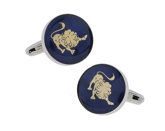 Leo Zodiac Sign Cufflinks Deep Blue Enamel Gold Tone Symbol from Astrology Cuff Links Comes with Gift Box