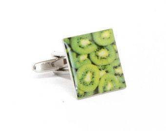 Slices of Kiwi Cufflinks Fun Food Fruit New Zealand Kiwi Cuff Links