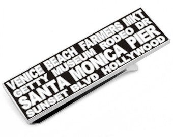 Los Angeles California Black and White Hi Lights Money Clip