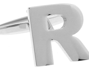 R Initial Cufflinks Silver 3-D Letter R Block English Letters Cuff Links Groom Father of the Bride Wedding Father's Day Gift Box