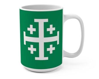 Jerusalem Cross Coffee Mug 15oz Christian Faith Crusader Cross Religious Ceramic Cup Gospel Greek Crosses Green Coffee Cup