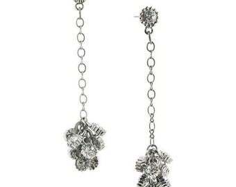 Antique Silver Tone Chain Chandelier Crystal Drop Earrings Silk Road Jewelry