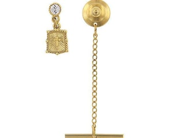 Enamel Lapel Pin Gold Cross Suspended with Crystal Tie Tack with Chain Collector Pin Comes with Gift Box