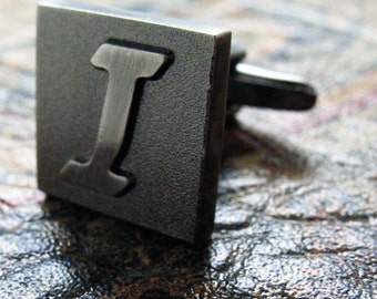 I Initial Cufflinks Gunmetal Square 3-D Letter Vintage English Lettering Personalized Cuff Links Groom Father of the Bride Wedding Gift Box
