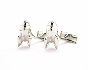 Rocket Man Cufflinks Silver Tone 3D Major Tom Whale Tail Post Cuff Links Touch Down Space Mission Apollo Astronaut Cosmonaut Warp Speed