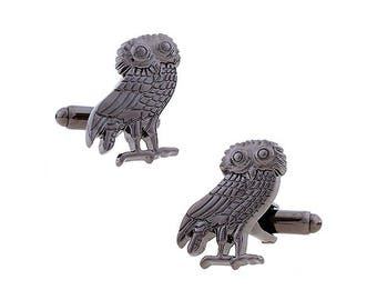 Owl Cufflinks Ancient Greek Owl Cufflinks Gunmetal Tone Zeus God Cuff Links Harry Potter Hogwarts Gryffindor Slytherin Ravenclaw Hufflepuff