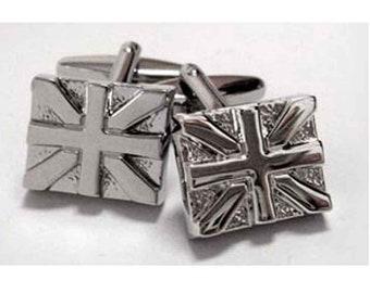 Silver Union Jack Flag Cufflinks UK England London British Flag Cuff Links