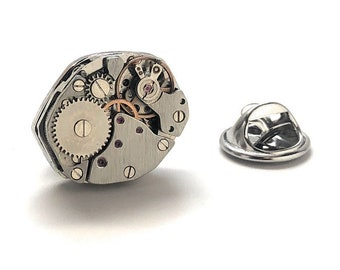 Watch Movements Lapel Pin Steampunk Silver Deconstructed Enamel Pin Tie Tack Engineering Engineer Gift for Boss Boyfriend Gift Tie Pin