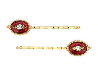 14k Gold Crystal and Red Enamel Bobby Pins, Hair Jewelry