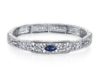 Filigree Design Elegantly Decorated with Blue Crystal Bracelet Downton Abbey Vintage Inspired Stretch Bracelet